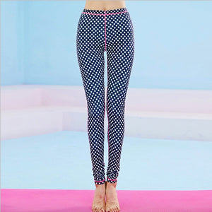 Women's Dots Print Bottom High Waist Yoga Pants/Leggings - yogashopper