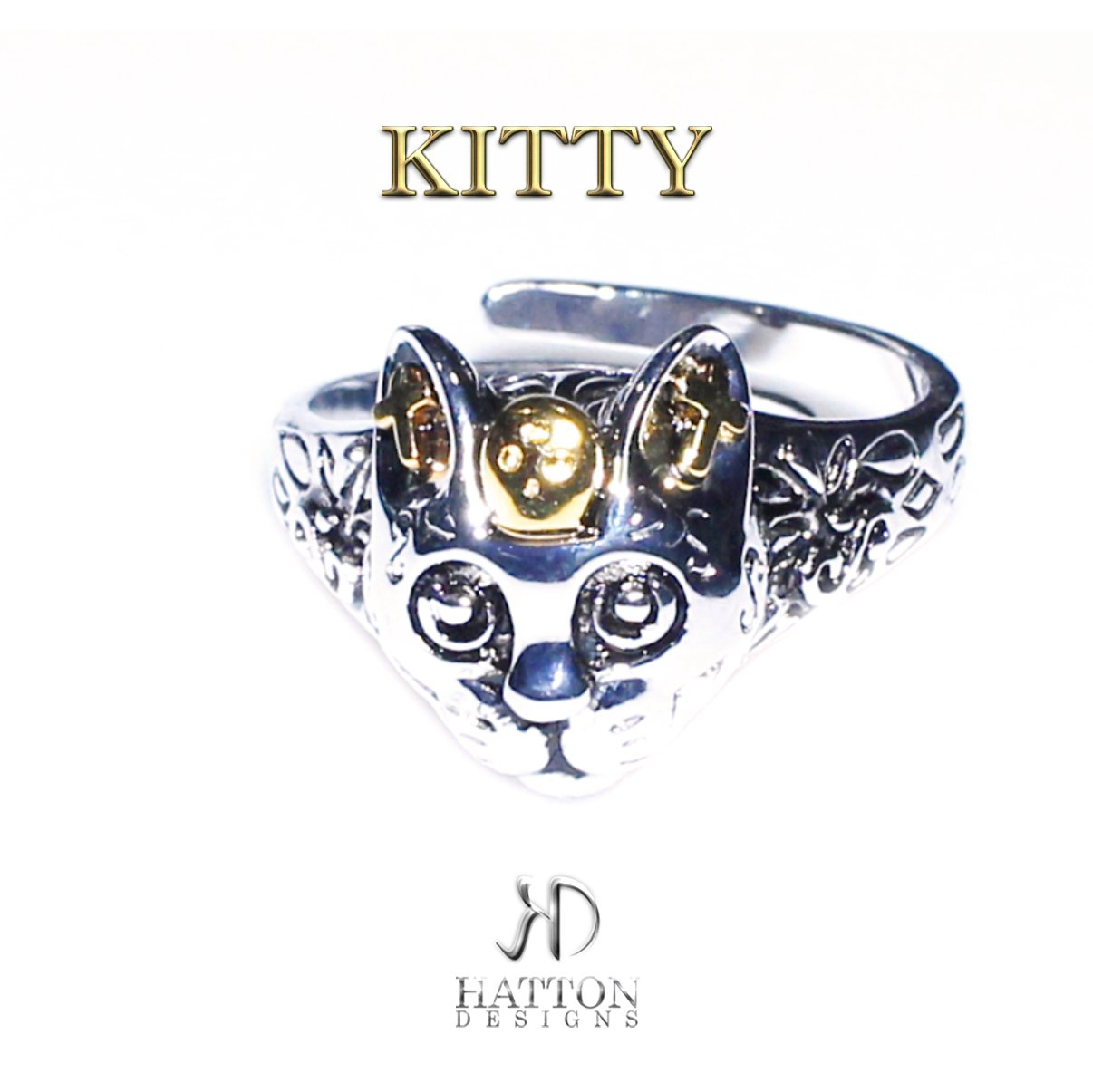 HATTON DESIGNS 'KITTY' Stainless Steel ring