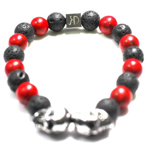 HATTON DESIGNS 'LIPSTICK'n'LEATHER' Lava Bracelet
