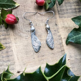 Sterling silver sycamore seed drop earrings