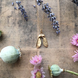 Gold plated Sterling silver mini sycamore seed pendant