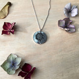 Sterling silver sunflower medallion pendant