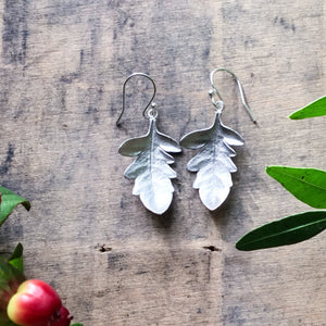 Sterling Silver Leaf Drop Earrings