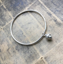 Load image into Gallery viewer, Sterling Silver Acorn Charm Bangle