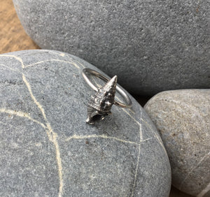 Sterling silver cone shell stacking ring