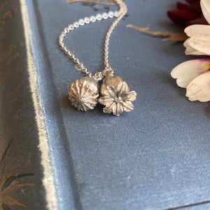Sterling Silver Double Poppy Seed Pod Necklace