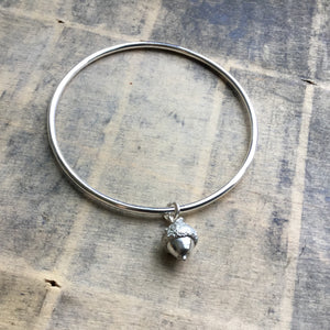 Sterling Silver Acorn Charm Bangle