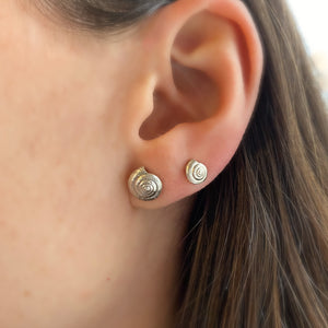 Sterling Silver Midi Shell Stud Earrings