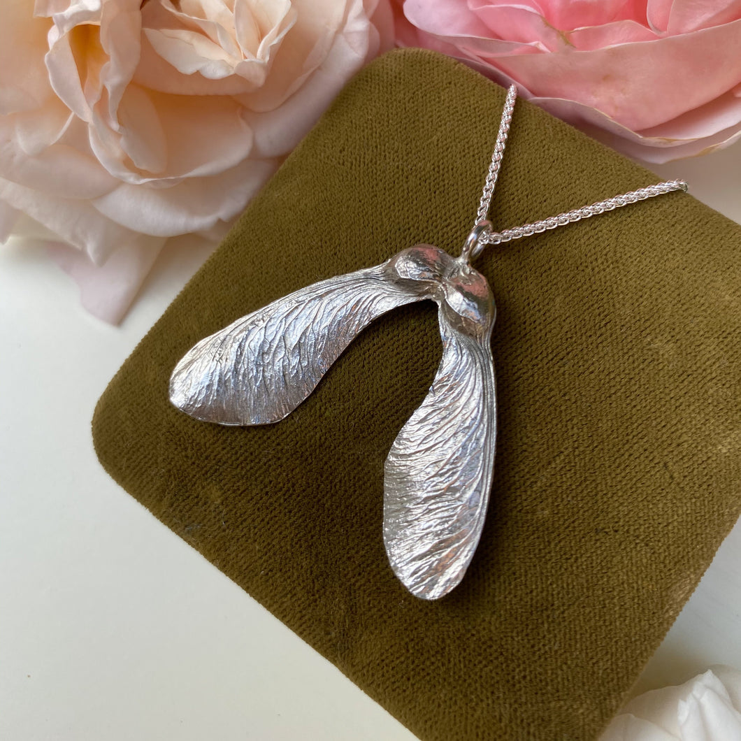 Sterling Silver Large Double Sycamore Seed Necklace