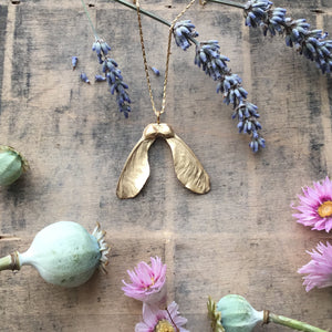 (PRE ORDER) Gold Plated Large Double Sycamore Seed Necklace