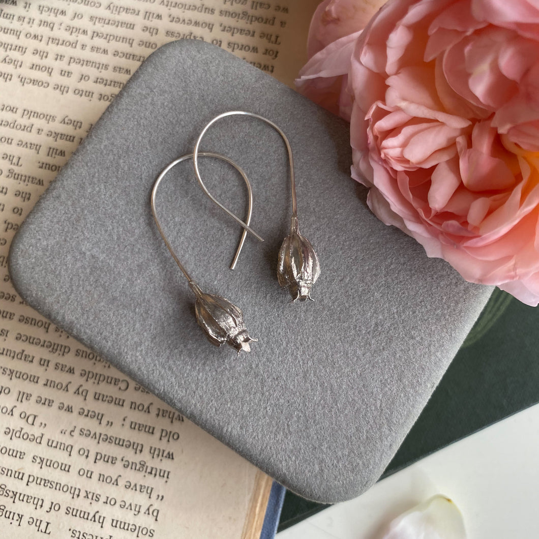 Sterling Silver Large Seed Pod Earrings