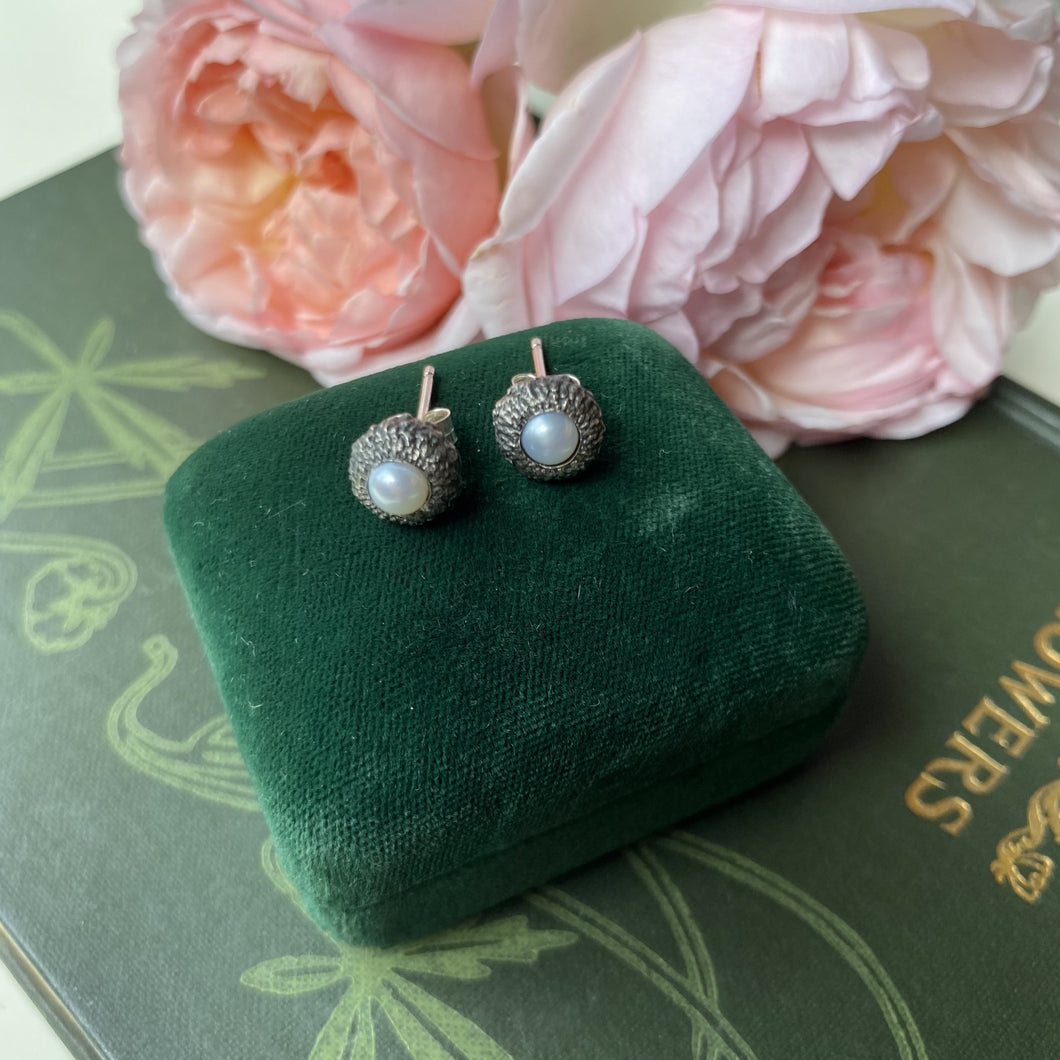 Sterling Silver Acorn Cup Stud Earrings