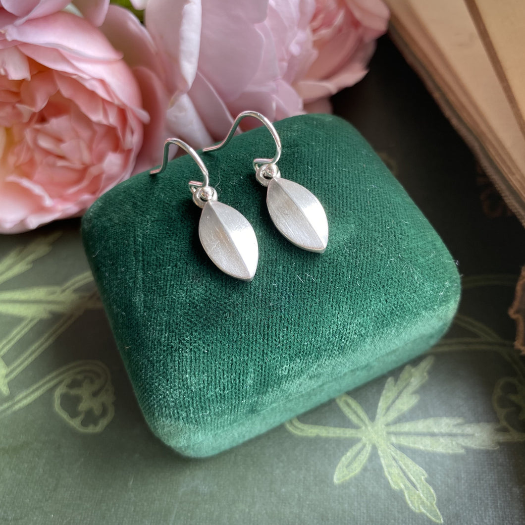 Sterling Silver Leaf Tear-Drop Earrings