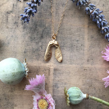 Load image into Gallery viewer, Gold Plated Mini Double Sycamore Seed Necklace