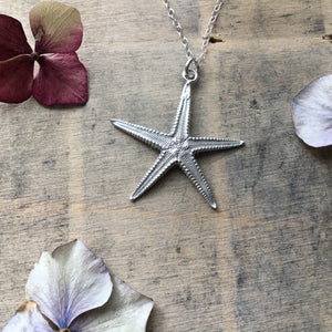 Sterling silver large starfish pendant