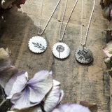 Sterling silver dandelion pendant, medallion dandelion necklace
