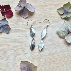 Sterling Silver Double Leaf Tear-Drop Earrings