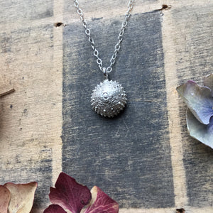 Sterling silver urchin pendant