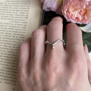 Sterling Silver Twig Wishbone Ring