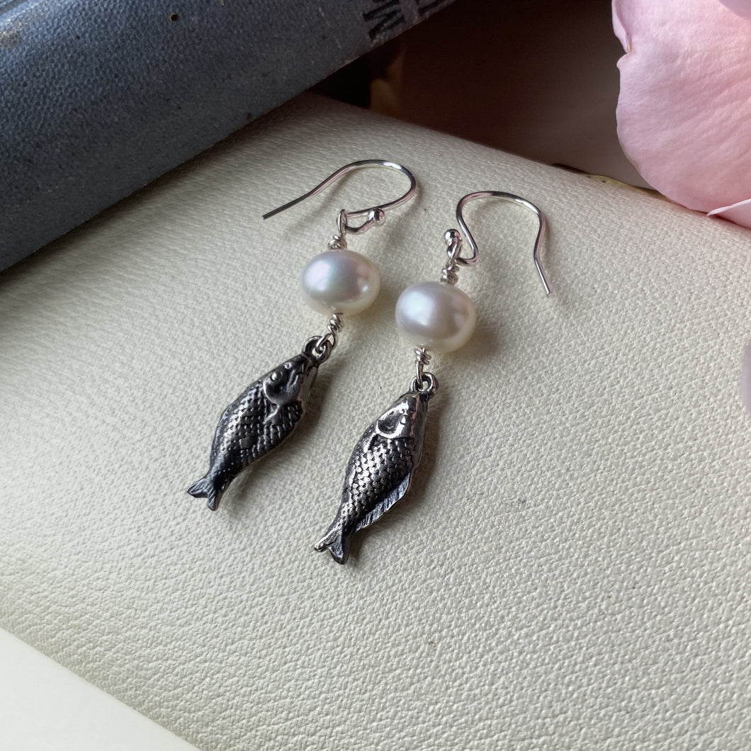 Sterling Silver Fish Pearl Earrings