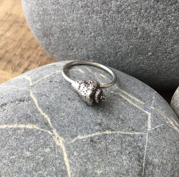 Sterling silver fossil shell stacking ring