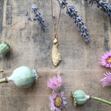 Gold plated Sterling silver sycamore seed necklace,