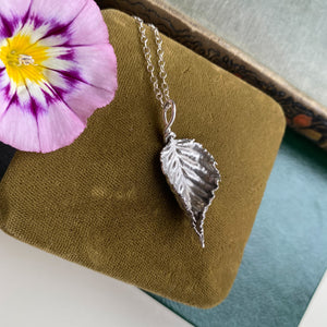 Sterling Silver Bramble Leaf Necklace