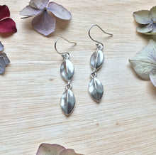Load image into Gallery viewer, Sterling Silver Double Leaf Tear-Drop Earrings