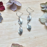 Sterling silver double leaf drop earrings