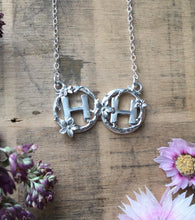 Load image into Gallery viewer, Sterling Silver Floral Double Initial Necklace