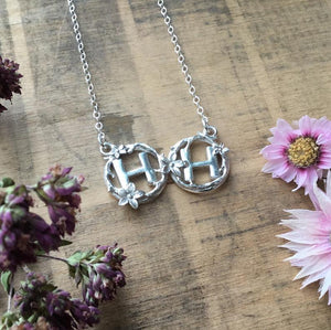 Sterling Silver Floral Double Initial Necklace