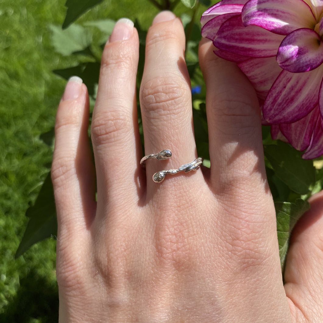 Sterling Silver Twig Blossom Ring