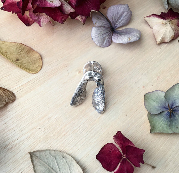 Sterling silver Sycamore seed pin