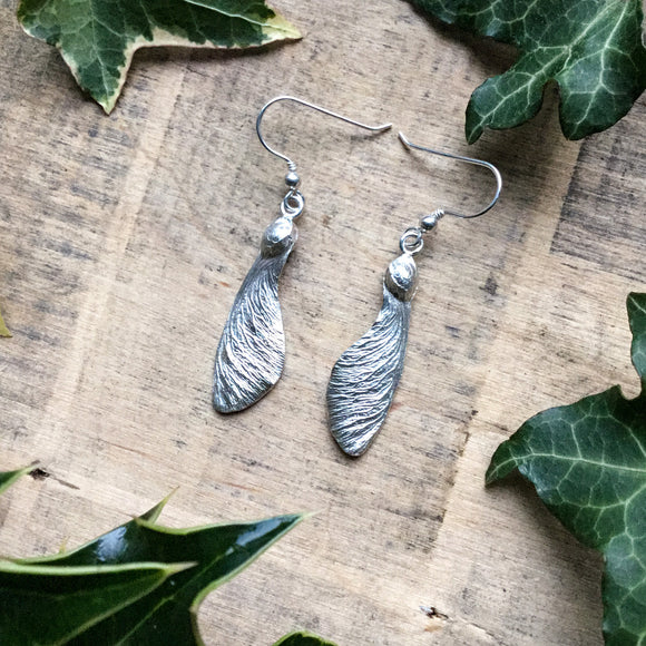 Sterling silver sycamore seed earrings