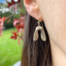 Load image into Gallery viewer, Sterling Silver Mini Double Sycamore Seed Earrings