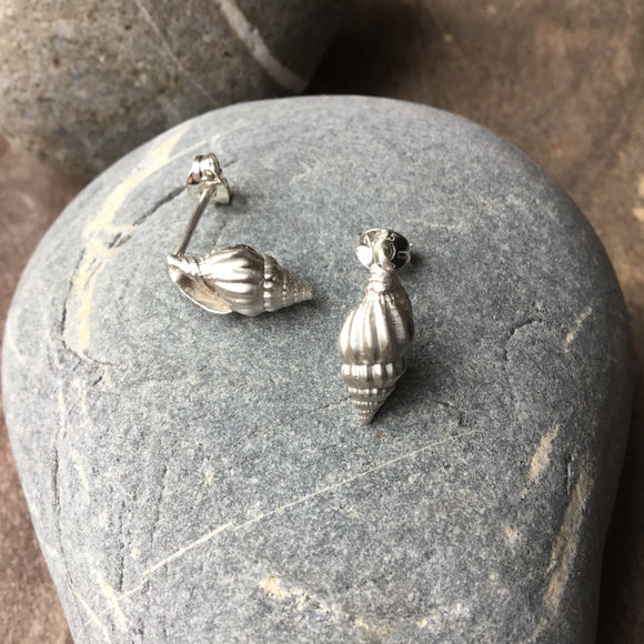 Sterling silver spiral shell stud earrings