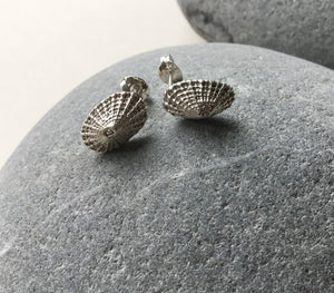 Sterling silver barnacle shell stud earrings