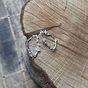 Sterling silver large flower and twig earrings