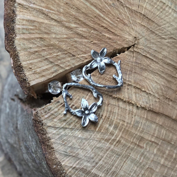 Sterling silver small flower and twig earrings