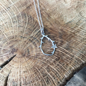 Sterling silver twig and flower necklace