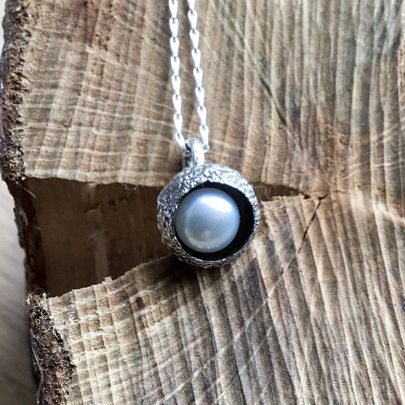 Sterling silver acorn pearl pendant