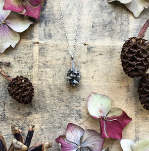 Sterling silver Pine cone pendant, mini cone necklace