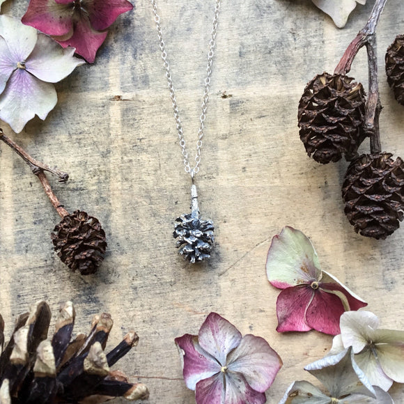 Sterling silver large Pine cone necklace