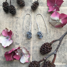 Load image into Gallery viewer, Sterling silver large pine cone drop earrings