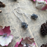 Sterling silver large pine cone drop earrings