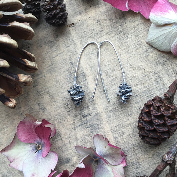 Sterling silver small pine cone drop earrings