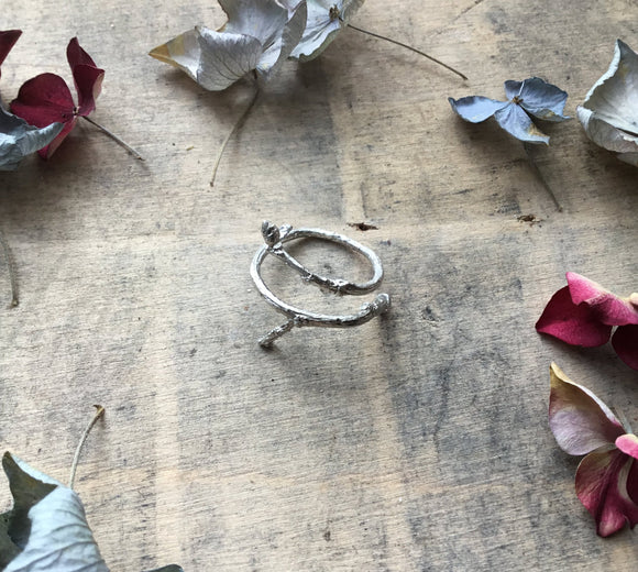 Sterling silver wrap twig ring