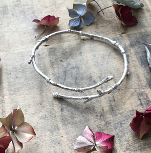 Sterling silver twig bangle