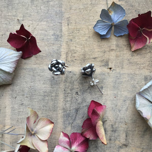 Sterling silver succulent stud earrings
