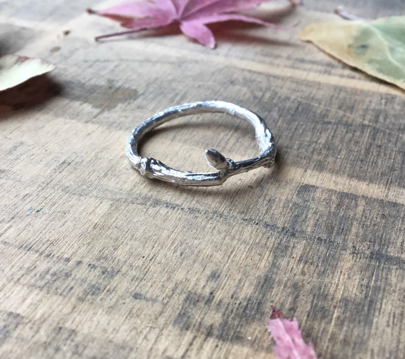 Sterling silver slim twig stacking ring